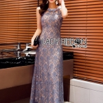Sequin Embroidered Lady Lace Maxi Dress