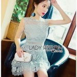 Ruffle Grey Lady Ribbon Lace Dress