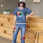 ชุดเซ็ทวอล์มยีนส์เกาหลีผ้ายีนส์ฟอกสีน้ำเงิน