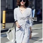 Chic Lady Ribbon Striped Cotton Kimono Dress