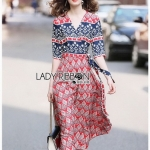 Lady Jane Red and Navy Printed Kimono Dress