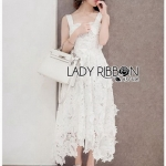 White Guipure Lady Ribbon Lace Dress
