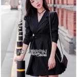 Decent Striped Lady Ribbon Suit Dress