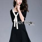 White & Black Lady Ribbon Dress