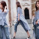 เสื้อสไตล์เกาหลีงานผ้า Cotton 100% ทอลายริ้วโทนฟ้าขาว