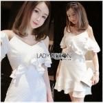 Laser-Cut Ruffle Cotton Dress เดรสผ้าคอตตอนปัก