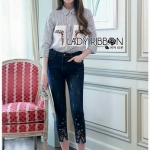 Shirt and Embroidered Lady Ribbon Denim Set