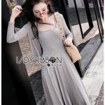 Chic Grey Cotton Lady Ribbon Dress