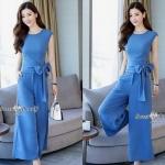 เซ็ทเสื้อกางเกงงานเกาหลีผ้าพื้นสีฟ้า