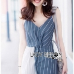 Two-Tone Striped Twisted Lady Ribbon Dress