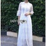 Maxi Dress เดรสยาวผ้าลูกไม้สีขาวสไตล์เจ้าหญิง