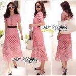 pink Lace Dress with Black Ribbon Dress