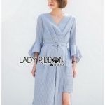 Lady Ribbon Cotton Dress เดรสสีฟ้าลายทาง