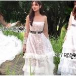 Maxi Dress เดรสยาวผ้าลูกไม้สีขาวทอลายดอกเดซี่