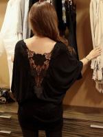 เสื้อยืดแฟชั่นชุดยาวสีดำด้านหลังแต่งโครเช