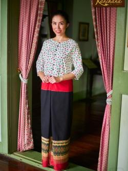 KJ009 เสื้อลายดอกผ้าเกาหลี