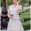 Embroidered Lady Ribbon White Lace Dress thumbnail 1