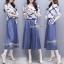 ยีนส์เกาหลีเสื้อผ้านุ่มเนื้อดีใส่สบายผ้าพิมพ์ลายดอกสีขาวน้ำเงิน thumbnail 1