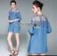 Mini Dress มินิเดรสผ้าเดนิมตกแต่งลูกไม้สไตล์ลำลอง thumbnail 2