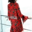 Lady Floral Printed Red Pleated Dress thumbnail 3