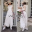 White Cotton and Lace Jumpsuit with Ribbon thumbnail 1