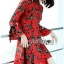 Lady Floral Printed Red Pleated Dress thumbnail 2
