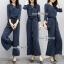 เสื้อ+กางเกงงานเกาหลีผ้าสีกรมลายริ้วขาวทางตรง thumbnail 1