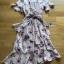 Lady Zoey Flower Printed Ruffle Zig-Zag Crepe Dress thumbnail 9