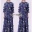 Navy Blue Chiffon Ruffle Maxi Dress thumbnail 1