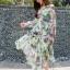 Lady Fiona Artsy Paint Printed Silk Wrap Dress thumbnail 4