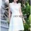 White Flower Lace Lady Ribbon Mini Dress thumbnail 1