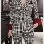 Chic Black and White Lady Ribbon Checked Suit thumbnail 3