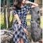 Dress เดรสพิมพ์ลายตารางสก็อตสีดำ thumbnail 4