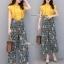 ซ็ทเสื้อกางเกงเกาหลีเสื้อสีเหลืองเนื้อผ้านุ่ม thumbnail 1