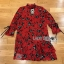 Lady Floral Printed Red Pleated Dress thumbnail 7