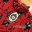 เดรสผ้าเครปสีแดงพิมพ์ลายดอกไม้สีเขียว thumbnail 8