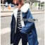 Chic Lady Ribbon Fur-Hood Denim Jacket thumbnail 2
