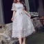 Lady Meredith Delicate Little Flower White Lace Dress thumbnail 4
