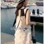 Dress เดรสแขนกุดผ้าลินินสีครีมปักพู่ thumbnail 9