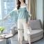 เซ็ทเสื้อ+กางเกงเกาหลีเสื้อผ้าไหมซาติน thumbnail 7