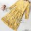 เดรสลูกไม้สีเหลืองแขนยาวผ้าทอลายดอก thumbnail 5