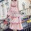 Lady Jill Printed Layered Pink Chiffon Dress thumbnail 1