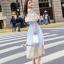ชุดเดรสปักเกาหลีผ้าคอตตอนบายริ้วฟ้าขาว thumbnail 2