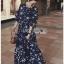 Navy Blue Chiffon Ruffle Maxi Dress thumbnail 2