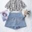 เสื้อเชิ๊ทเนื้อผ้าชีฟองแบบโปร่งพิมพ์ลายดอกไม้สีฟ้า thumbnail 6