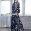 Navy Blue Chiffon Ruffle Maxi Dress thumbnail 4