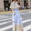 ชุดเดรสปักเกาหลีผ้าคอตตอนบายริ้วฟ้าขาว thumbnail 4