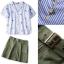 Lady Ribbon Online ขายส่งเสื้อผ้าแฟชั่นออนไลน์ เสื้อผ้า Normal Ally NA10080816 &#x1F389Normal Ally Present Pineapple print shirt striped and army tone skirt set&#x1F389 thumbnail 6