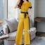 เซ็ทเสื้อ+ผ้าริบบิ้น+กางเกงงานเกาหลีผ้าสีพื้น thumbnail 5