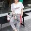 เสื้อขาวกางเกงลายริ้วชุดแฟชั่นลุคสาวเกาหลี thumbnail 1